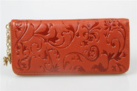 best handbag wholesale - 115 New Fashion Style The best Genuine Leather Zip Around Flower pattern Lady Women Long Wallet Purse Handbag Color