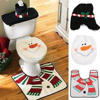 Wholesale Christmas Decoration Snowman Toilet Cover Seat Cover Tissue Box Rug Bathroom Mat Set Christmas Gift Home Adornos navidad Party Decora