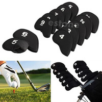 Wholesale Golf Head Cover Club Iron Putter Head Protector Set Neoprene Black order lt no track