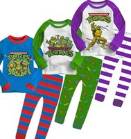 night shirts - EMS DHL FEDEX Pajamas For Kids Boys Clothes Sets Night Home Sleep Wear Cartoon Teenage Mutant Ninja Turtles Long Sleeve T shirt Pant I2765