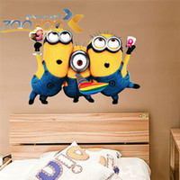 Wholesale Despicable me cute minions wall stickers for kids rooms decorative adesivo de parede removable pvc wall decal JIA210