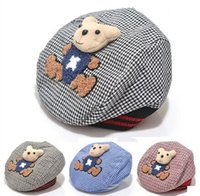 baby girths - Retail High Quality Baby Beret Kid Hat Bear Cartoon Baby Hat Baby Cap Grid Design Child Hat Girth CM Flexible