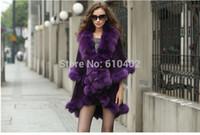 wool fabric coat - Wamen s Sophisticated Genuine Fox Fur burrs Stretch fabric Coat Cloak Poncho shawl cloak Coat cape violet