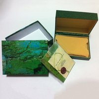 Wholesale watches box green leather watches booklet card s and papers in english
