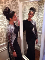beaded jersey - New Sexy Long Sleeves Black Jersey Mermaid Evening Dresses Beaded Crystals Floor Length Prom Gowns