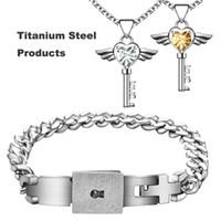 Wholesale Couple Bracelet Gift Set - Titanium Lovers Jewelry Set Concentric Lock Bracelet Love Key Rhinestones Pendants Necklace Wedding Engagement Couples Valentine's Day Gifts