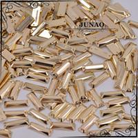 Wholesale mm Gold Sew On Rhinestone Rectangular Flatback Acrylic Strass Crystal Stones For Clothing Dress Decorations