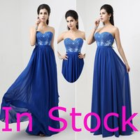 Wholesale In Stock Royal Blue Long Party Prom Dresses A line Sweetheart Lace Appliques Maid of Honor Bridesmaid Gowns Real Image
