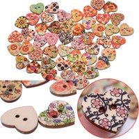 Wholesale Hot Mixed Printed Flower Flatback Heart Shape Wooden Sewing Colorful Buttons Scrapbooking DIY Beads Accessories Free Ship