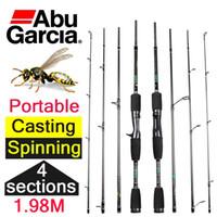 al por mayor abu girando-1.98m barata abu garcia fundición hilado de fibra de carbono vara de pesca 4 secciones de fundición barra de pesca spinning baitcasting pole