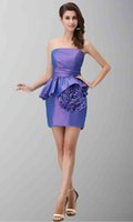 big power hand - Amazing Strapless Big Flower Hem Mini Length Sheath Light Purple Prom Gowns On Sale