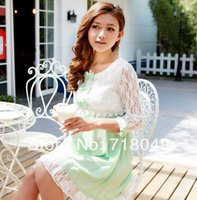Wholesale 2014 New Maternity Lace Chiffon Dresses Pregnant Women Summer Clothing Loose One Piece Dress Patchwork Half Sleeve Dress