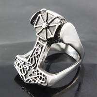 antique viking ring men - Hot Salet High quality jewelry Rings The New Hammer Thor Viking God Cross Ring antique silver plated Gift for Man Woman