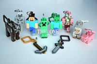 Wholesale minecraft figure set minecraft hangers minecraft key chains Action Figures Backpack Clips Keychain Keyring Toys in stock
