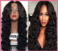 swiss lace wig - Pretty Sexy Remy Brazilian Human Hair Wavy Glueless Full Lace Wigs Natural Color Swiss Lace