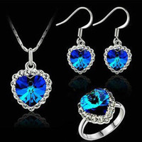 Wholesale Top quailty jewelry sets three sets sterling silver Rhinestone necklace pendant girl zircon drop earring crystal love heart rings TZ001