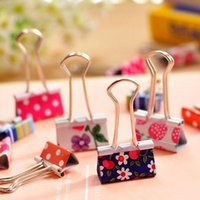 Wholesale New Metal Binder Clips Sweet Printing mm mm Paper Stationery Holder Office School Supplies Filing Supplies