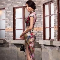 Wholesale The night of Shanghai high grade heavy silk silk long dress party performing ceremonial dress