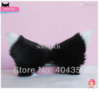 Wholesale 1 Pair Long hair cm Anime Cosplay Fox Ears Cat ears Hair Clip Party Headwear black with white