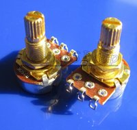 Wholesale 2PCS B250K mm Handle MM Gold Plated Shaft Guitar Potentiometer Guitar Tone Pots