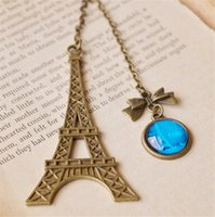 Wholesale Vintage Eiffel Tower Bookmarks Bronze Bowknot Blue Round Time Of Glass Gem Bookmark Chirstmas Birthday Gifts School Supplies K549
