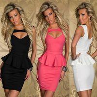 Wholesale 3 colors M L XL New women Sexy Dress Heart shaped Peplum Dress summer hollow sleeveless club evening party dresses