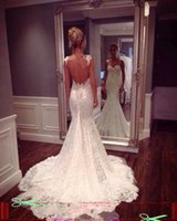 Wholesale Fancy Lace Wedding Dresses Mermaid With Spaghetti Straps Open Back White Lace Backless Bridal Gowns Wedding Dress China Supplier