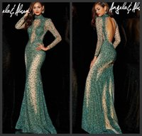 Cheap Opulent Elie Saab Style Crystal Pageant Dresses High Collar Long Sleeve Nude Tulle Sheath Evening Dress with Gold Blue Stones Backless Prom