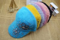 baseball caps hair - On Sale New Fashion Baseball Caps For Women Causal Outdoor High Quality Rhinestone Beading Rabbit Hair Ball Caps Hats