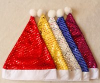 Wholesale Christmas Holiday Party Decorations for inches Adult Sequins Christmas Party Hat With Yellow Red Blue Purple Sliver For