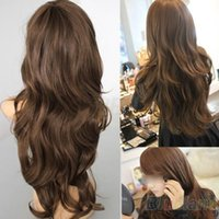 Wholesale New Sexy Womens Girls Fashion Style Wavy Curly Long Hair Human Full Wigs Colors GWF
