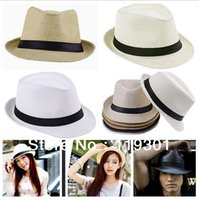 Wholesale Fashion Unisex Solid Braid Fedora Trilby Gangster Cap Summer Beach Sun Straw Panama Hat Panama Hats Hot Sale