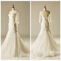 adorn silks - 2015 Sheer Neck Half Sleeve Mermaid Wedding Dresses Silk Flowers Adorned Beaded Crystal Bridal Gowns Natural Slim Chapel Bridal Dress Top