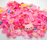 Wholesale 100pcs Resin Pink series Sweet Kawaii Flatback Cabochon Random Mixed Size mm