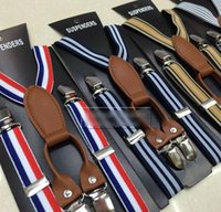 Wholesale 2015 New Kids Boys Girls Stripe Suspender Clip Children Mix Style Leather Elastic Pants Folder Unisex Rainbow Strape Fashion Brace BY0000