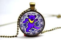 bear photos - 10pcs The Grateful Dead Bear Necklace Glass Photo Cabochon Necklace