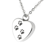 animal urns - Lily Cremation Jewelry Puppy Pet Dog Paw Print Heart Necklace Memorial Urn Pendant Ashes with gift bag and chain