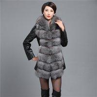 Wholesale TOP ROYA BIG FOX FUR COLLAR RACCOON FUR COLLAR MINK FUR SHEEP LEATHER LADY COAT