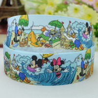 Wholesale quot mm Mickey Minnie Printed grosgrain ribbon hairbow DIY handmade YD