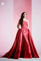 Wholesale Amazing Elie Saab Evening Dress Red Crew A line Applique lace Prom Dress With Detachable Train
