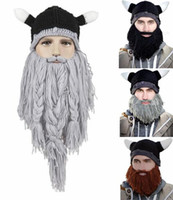 animal bike horn - Hats Beanie Skull Caps Bearded Knitted Hats Vikings Horn Knitted Hat Warmer Ski Bike Skull Hat Unisex Men Children Beard Cap