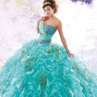 ruffle skirt - Ice Blue Sequins Princess Quinceanera Dresses With Jacket Cascading Ruffles Skirt Luxurious Custom Made Dresses Masquerade Ball Gowns