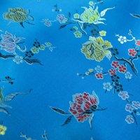 Wholesale Sky blue flower pattern traditional brocade fabric cheongsam outfit hanfu kimono doll clothes