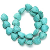 beading ring patterns - 23pcs pack CM CM Natural BlueTurquoise Heart Pattern Loose Beads Stones Beading Jewelry Making DIY Necklace F1179