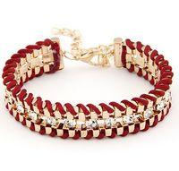Wholesale 2015 New Arrival Toggle clasps Charm Bracelets Trendy Geometric Cotton Zinc Alloy Snake Chain Women Channel Setting Bracelets