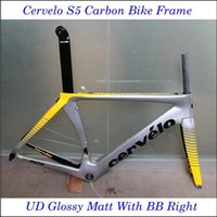 Wholesale 2016 Cer velo S5 Carbon Bike Frame UD Weave Frames Glossy Matte Finish With BB Right Road Bicycle Parts Grey Yellow Bike Frames
