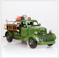 antique fire trucks - Creative personality tin liberate large military truck fire vehicle Decoration Gifts