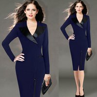 Wholesale European ladies office dresse for womens work dresses suit long sleeved pencil dresses for Autumn and spring women dress