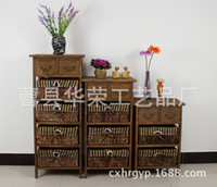 Wholesale Factory direct white wood nightstand rustic rattan furniture Drawers small apartment bedroom bedside table