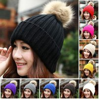 Wholesale Ladies Winter Knitted Cute Rabbit Fur Hairball Skull Beanies Women Thick Warm Headgear Headdress Hat Ear Caps